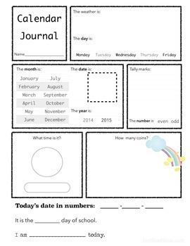 Calendar Journal Pages 2014-2015