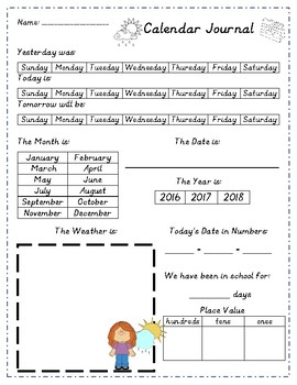 Calendar and Weather Journal Page