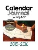 Calendar Journal Pages 2015-2016