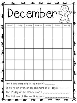 Calendar Journal for First Grade Math Skills