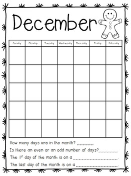 Calendar Journal for First Grade Math Skills