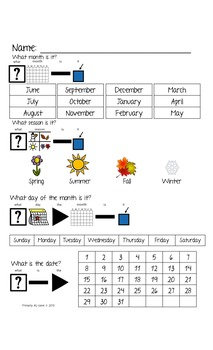 Calendar Journal for Morning Work for Visual Learners