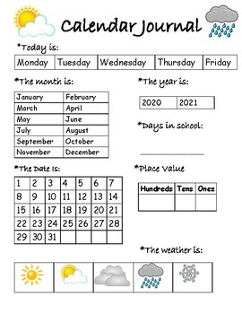 Calendar Journal for Special Education Classrooms