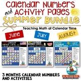 Calendar Keepers & Calendar Math Activities | June, July & August |Summer Bundle