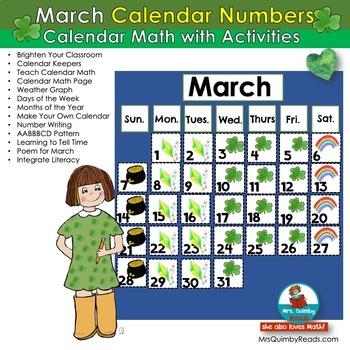 Calendar Keepers for March   Calendar Math Activities