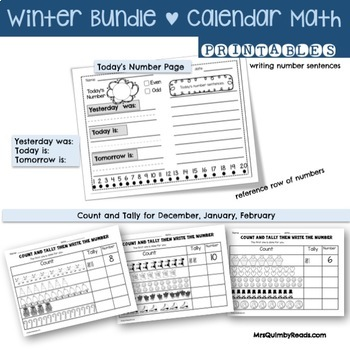 Calendar Keepers and Math Activities -Winter Bundle- December, January, February