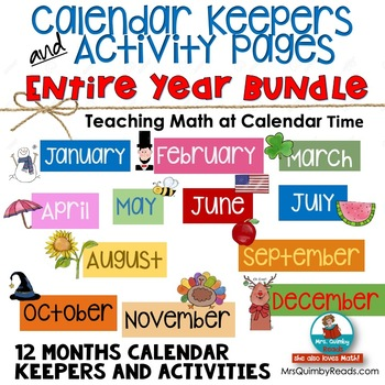 calendar keepers for entire year 12 month bundle math activities