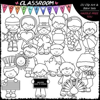 Calendar Kids - Clip Art & B&W Set