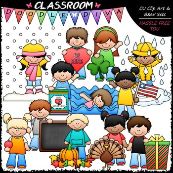 Calendar Kids Clip Art 2 Monthly Kids Clip Art B W Set Tpt