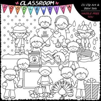 Calendar Kids Clip Art 2 - Monthly Kids Clip Art & B&W Set