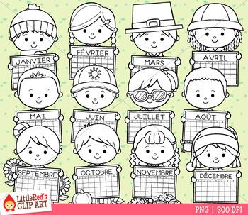Calendar Kids French Clip Art
