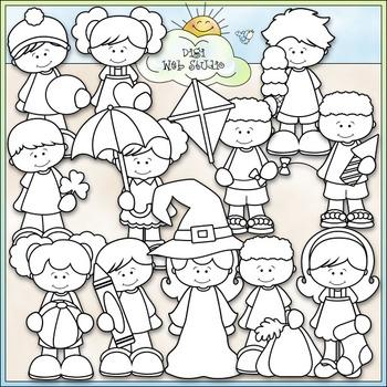 Calendar Kids Clip Art - Monthly Kids Clip Art - CU Clip Art & B&W