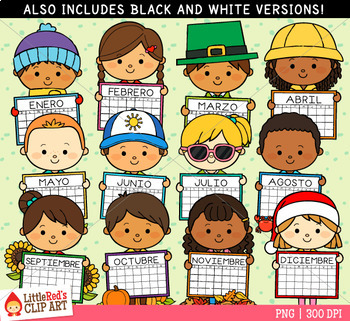 Calendar Kids Spanish Clip Art