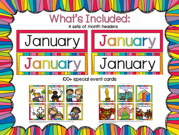 Calendar Kit - BRIGHT and colorful themed