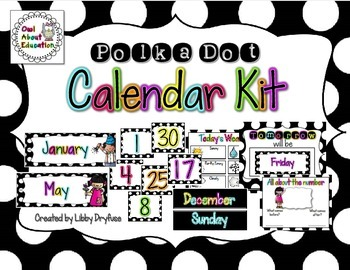 Calendar Kit {Black & White Polka Dots}