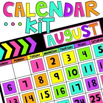 Classroom Calendar | Calendar Kit | Chunky Chevron Edition