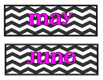 Calendar Labels- Chevron with Pink Font