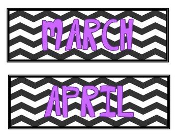 Calendar Labels- Chevron with Purple Font