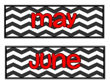 Calendar Labels- Chevron with Red Font