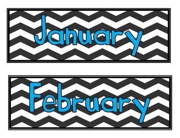 Calendar Labels- Chevron with Teal Font