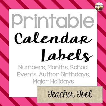 Calendar Labels - ELA Inspired