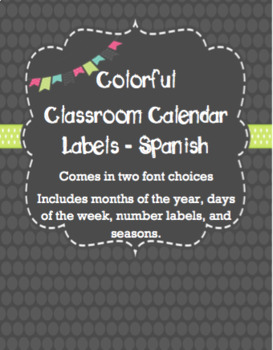 Calendar Labels - Gray - Spanish - Calendario Espanol
