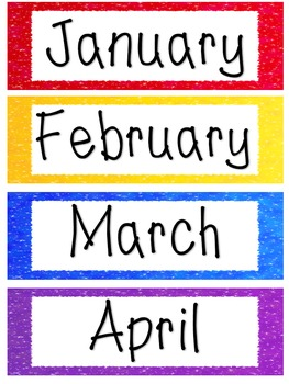 Months of the Year Labels - Sparkle