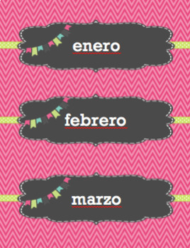 Calendar Labels - Pink - Spanish - Calendario Espanol