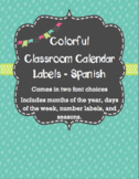 Calendar Labels - Teal - Spanish Calendario Espanol
