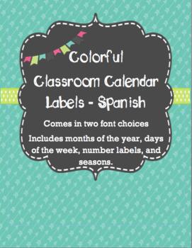 Calendar Labels - Teal - Spanish Calendario Espanol