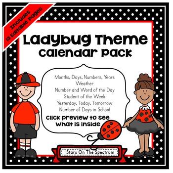 Ladybug Calendar Set