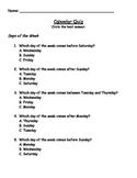 Calendar Language Quiz