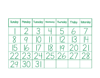 Calendar Manipulatives:  Instant Activity!