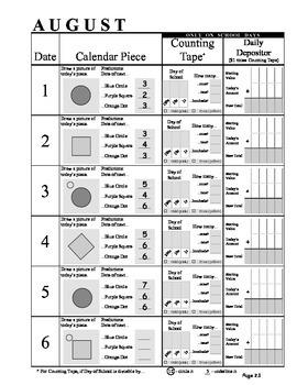 August Supplement to 3rd Grade Math Journal