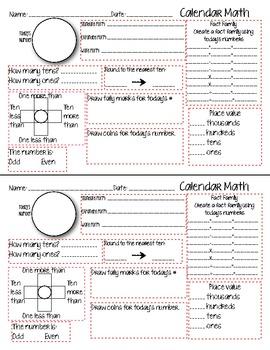 Calendar Math-A Teachers Wonderland