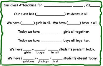 Calendar Math Daily Attendance Chart