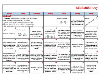 Calendar Math - December 2017