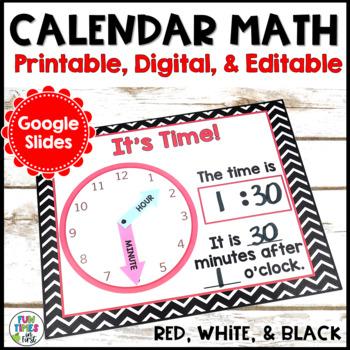 Calendar Math EDITABLE | Black, White, and Red Decor