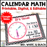 Calendar Math EDITABLE   Black, White, and Red Decor