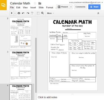 Calendar Math Google Drive AND Printables