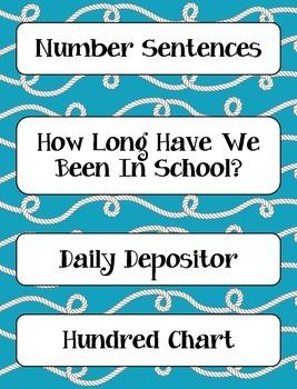 Calendar Math Heading, Charts, & Graphs AND Daily Math - Nautical Aqua & Yellow