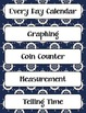 Calendar Math Headings, Charts, & Graphs AND Daily Practice- Nautical Navy & Red