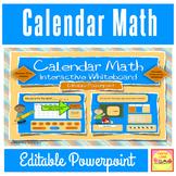 "Calendar Math Interactive / Smart Board  Editable Powerpoint ""School Kids"" Theme"