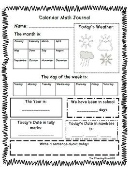 Calendar Math Journal Landscape Version by The 2 Teaching Divas