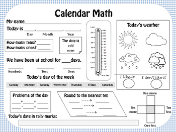 Calendar Math Journal, Weather worksheets and graphs by Tatiana | TpT