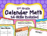 Calendar Math - Math Focus Board 2nd grade 24 Skills Bright Polka Dots