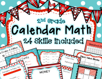 Calendar Math - Math Focus Board 2nd grade 24 Skills aqua and red