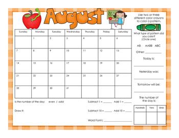Calendar Math Mats - Color & BW - 2016 2017 School Year