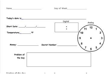 Calendar Math Morning Work