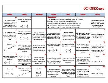 October 2017 - Calendar Math